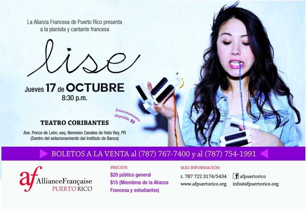 Concierto de la cantautora francesa LISE en Puerto Rico!